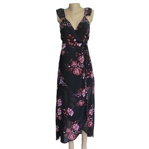 Black Rose Floral Print Wrap Dress